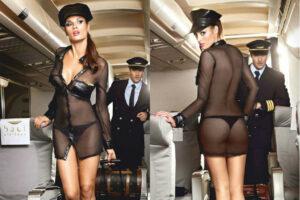 Fræk Baci gennemsigtig stewardesseuniform til den sexet leg